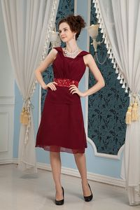 Burgundy Dress For Cocktail Party with Square Neck and Beaded Sash