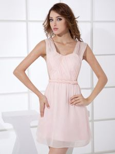 Straps Mini-length Baby Pink Cocktail Dress For Celebrity