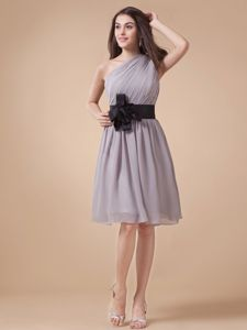 One Shoulder Ruched Wedding Cocktail Party Dress in Grey