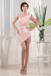 Pink Lace Cocktail Dress with One Shoulder Sleeve Mini-length
