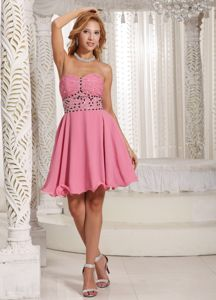 Sweetheart Beaded Ruching Cocktail Dress Mini-length in Salmon