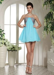 Mini-length Strapless Cocktail Dress in Aqua Blue and Grey