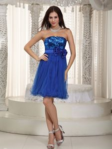 Royal Blue Strapless Mini-length Sequin Bowknot Cocktail Dress