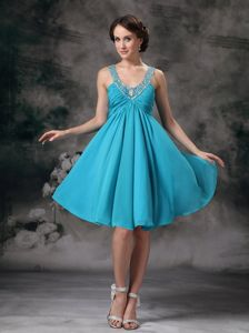 Beaded V-neck Mini-length Cocktail Dress For Prom in Turquoise
