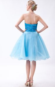 Baby Blue Strapless Knee-length Ruched Wedding Cocktail Party Dress