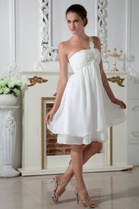 Empire One Shoulder White Cocktail Dress with Appliques Short