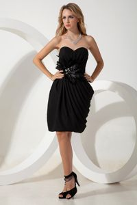 Black Sweetheart Chiffon Cocktail Dress with Hand Made Flowers