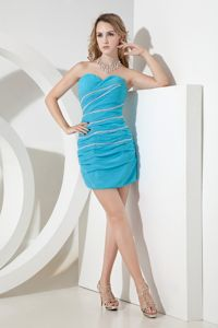 Aqua Blue Chiffon Sweetheart Cocktail Dress with Beading and Ruches