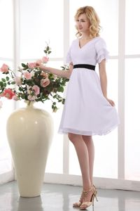 White V-neck Chiffon Cocktail Dress with Ruches and Short Sleeves