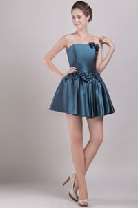 Peacock Green Strapless Taffeta Cocktail Dress with Bowknots