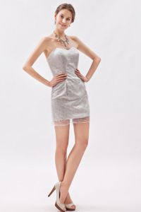 Grey Sweetheart Evening Cocktail Dress in Taffeta and Organza