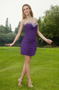 Purple Sweetheart Chiffon Cocktail Dress with Ruches and Beading