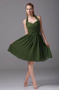 Halter Top Dark Green Chiffon Evening Cocktail Dress with Ruches