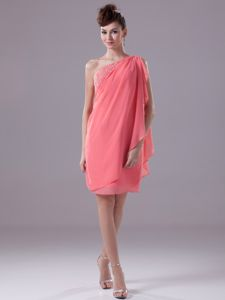 Chiffon One Shoulder Watermelon Cocktail Party Dress with Ruffles