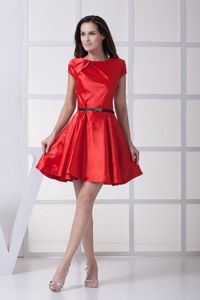 Taffeta Scoop Prom Cocktail Dress with a Black Bow Belt in Red