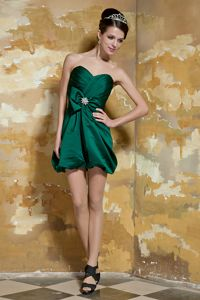 Ruched Taffeta Dark Green Cocktail Dress with a Hand Made Flower