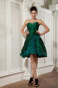 Dark Green Sweetheart Prom Cocktail Dress in Taffeta and Organza