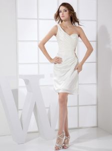 White Chiffon Homecoming Cocktail Dresses with One Shoulder