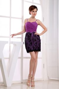Spaghetti Straps and Lace Overlaid Skirt Purple Cocktail Dress