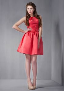 Scoop Neck Mini-length Rust Red Cocktail Party Dress For Cheap