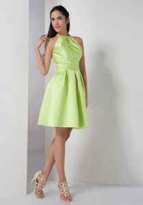 Yellow Green Cocktail Dresses with High-neck by Elastic Woven Satin