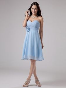 Light Blue Chiffon Cocktail Dress with Handmade Flower and Ruche