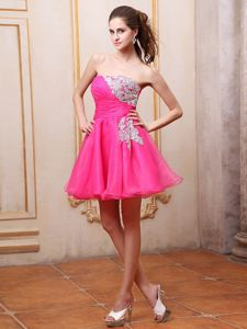 Hot Pink Mini-length Cocktail Dress with Appliques and Ruches