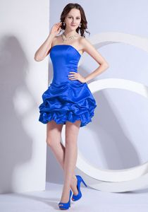 Royal Blue A-line Mini-length Prom Cocktail Dress with Pick-up Skirt