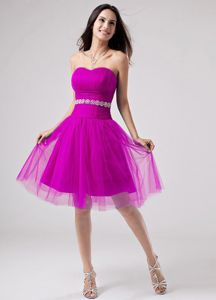Beaded Sash and Ruched Bust Fuchsia Strapless Cocktail Dress