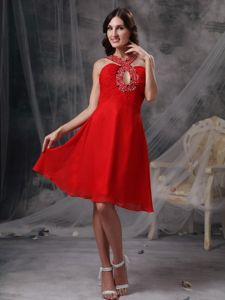 Red V-neck Cocktail Dress by Chiffon with Beaded Strap and Keyhole