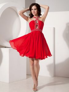 Beaded Strap and Sash Red Chiffon Cocktail Dress in Mini-length