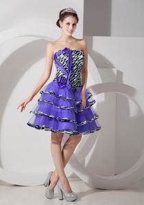 Zebra and Purple Cocktail Dress For Prom with Layered Skirt