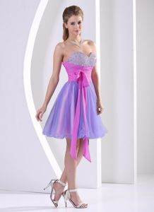Beaded Bust Sweetheart Cocktail Dresses with Sash and Bow