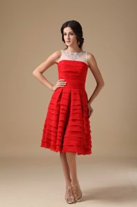 Bateau Layered Chiffon White and Red Cocktail Party Dresses