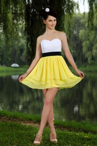 Yellow and White Cocktail Dress with Black Sash and Layered Skirt