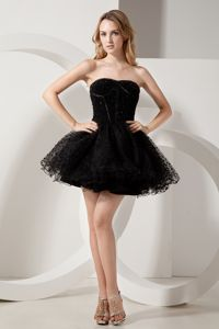 Black Cocktail Reception Dresses With Beaded Bodice and Dotted Skirt