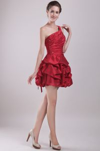 Cheap Red One Shoulder Mini-length Cocktail Dresses with Pick-ups