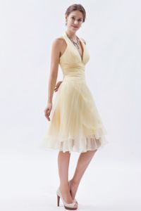 Halter Pleated Fabric Light Yellow A-line Princess Cocktail Dress