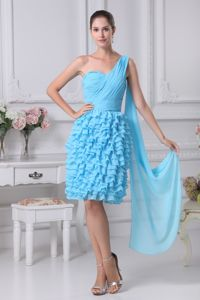 Ruffled Layers and One Shoulder Neck Blue Cocktail Dress with Ruches