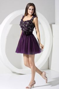 Purple Lace Mini-length Straps Cocktail Dress with Back Out
