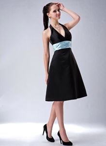 Black Satin Halter Knee-length A-line Cocktail Dress Sashed