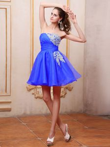 Mini-length Royal Blue Prom Cocktail Dresses With Appliques