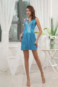 Backless Cocktail Dress with V-neck Sequin Mini-length in Turquoise