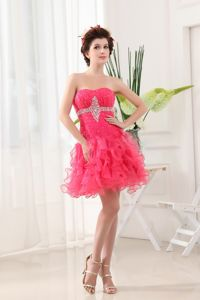 Hot Pink Prom Cocktail Dress with Ruffled Layers and Beading