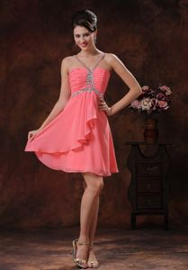 Beaded Halter V-neck Watermelon Short Prom Cocktail Dress