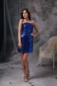 Column Strapless Sequin Cocktail Party Dresses Mini-length in Peacock Blue