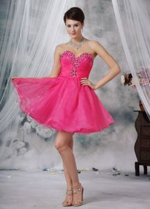 Hot Pink Sweetheart Mini-length Beading Prom Cocktail Dress