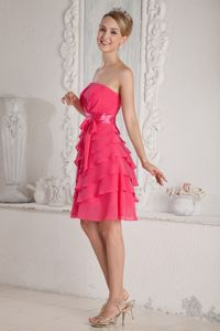 Strapless Hot pink Ruched and Layered Cocktail Dresses Mini-length