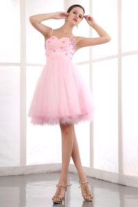 Sweetheart Straps Pink Prom Cocktail Dress Beading Mini-length