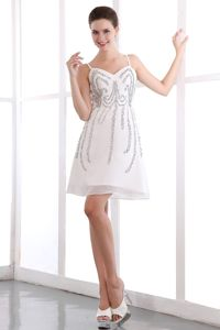 White A-line Straps Short Beading Wedding Cocktail Party Dress